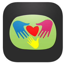 Image of drawing of three multi colored hands surrounding a heart against a green background