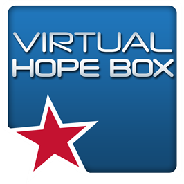 "Blue background with white text that reads ""Virtual Hope box"""
