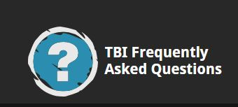 Question mark in a circle and text staying TBI Frequently Asked Questions
