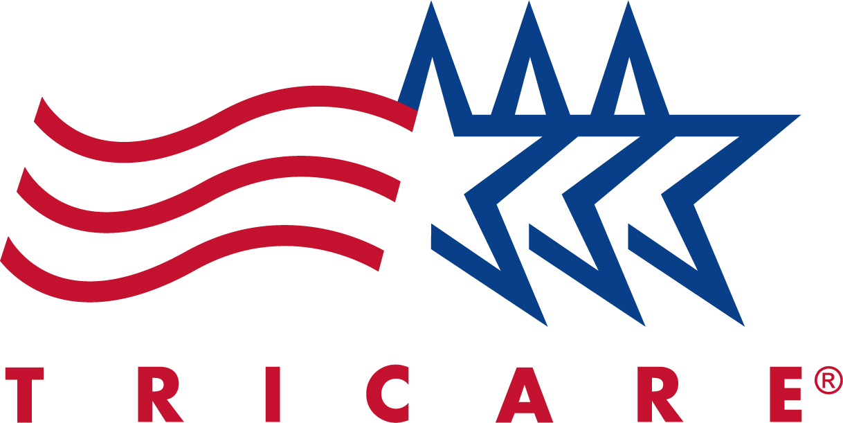 TRICARE logo with three blue stars and three red wavy lines